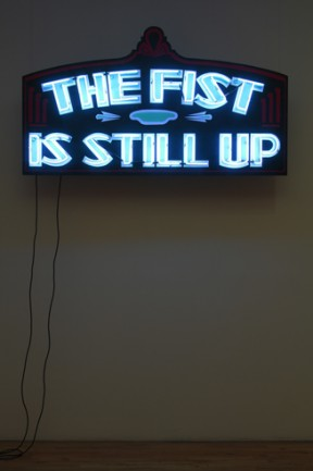 Wu Tsang, The Fist Is Stil Up, 2010, Neon, acrylic on wood panel, 40 x 70 x 10 inches