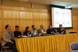 From left to right: Simon Kuper, John Foot, Brenda Elsey, Alex Galarza, Grant Wahl, Peter Alegi and Charles Korr.