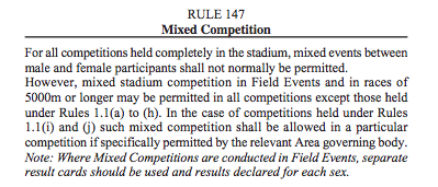 IAAF Mixed Competition Rule 147
