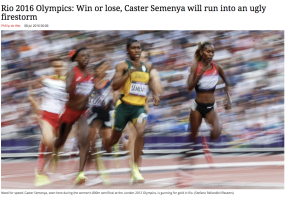 relatively rare, profile angle of Caster Semenya while running, from South Africa's newspaper the Mail & Guardian.